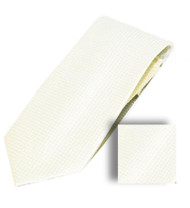 Antonia 100% Woven X-Long Silk Necktie with Pocket Square - Ivory