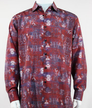 Bassiri Red Baroque Pattern Long Sleeve Camp Shirt