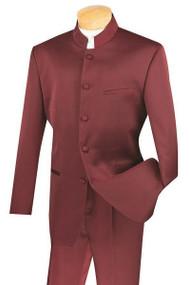 Lucci Banded Collar Fashion Suit - Burgundy