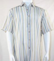 Bassiri Blue and Gold Stripes on White Short Sleeve Camp Shirt