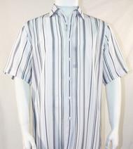 Bassiri Grey and Charcoal Stripes on White Short Sleeve Camp Shirt