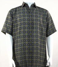 Bassiri Olive Medallion Design Short Sleeve Camp Shirt