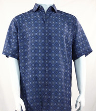 Bassiri Blue Medallion Design Short Sleeve Camp Shirt