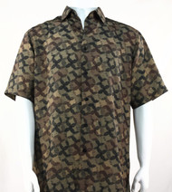 Bassiri Brown Abstract Spiral Design Short Sleeve Camp Shirt