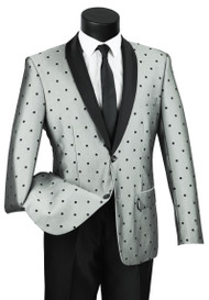 Vinci Sheened Polka Dot Grey Formal Sportcoat