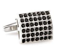 Black Panel Crystal Cufflinks (V-CF-60289B)
