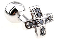 Black Swarovski® Crystal Small Cross Cufflinks (V-CF-C250011B-S)