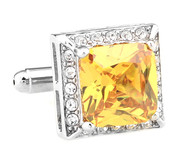 Large Yellow Square Crystal Cufflinks (V-CF-C64121Y-S)
