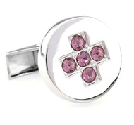 Round Pink Crystal Cross Center Cufflinks (V-CF-C6941P-S)