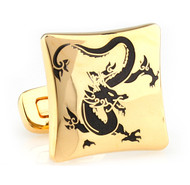 Asian Black Dragon Design Gold Cufflinks (V-CF-E81295B-G)