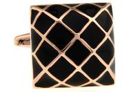 Black Domed Square Rose Gold Cufflinks (V-CF-56717B-RG)