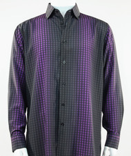 Bassiri Purple Box & Faded Stripe Design Long Sleeve Camp Shirt