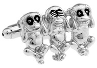 Hear, Speak and See No Evil Monkey Silver Cufflinks (V-CF-M70378-S)
