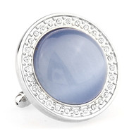 Extra Large Blue Cat's Eye Stone Cufflinks (V-CF-67480BL-S)