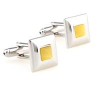 Square Light Yellow Cat's Eye Cufflinks (V-CF-G60739Y)