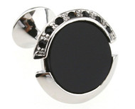 Black Onyx and Crystal Cufflinks (V-CF-M0068)
