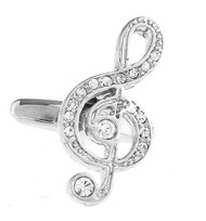 Treble Clef with Diamond Crystal Cufflinks (V-CF-C68381C-S)