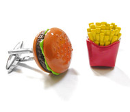Extra Large Burger and Fries Cufflinks (V-CF-B11101)
