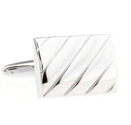 Silver Detail Rectangle Cufflinks (V-CF-M70787S)