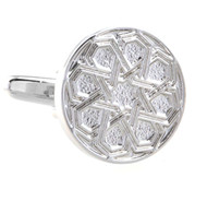 Silver Detailed Disc Cufflinks (V-CF-M52754S)