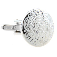 Silver Detailed Disc Cufflinks (V-CF-M52953S)