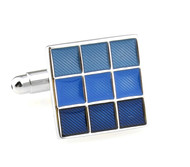Blue Enamel Square Cufflinks (V-CF-E70224BL)