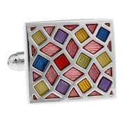 Multi-Color Enamel Square Cufflinks (V-CF-E62477)