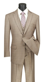 Vinci 2-Button Tan Glenplaid with Vest Suit - Single Pleat Slacks