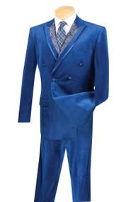 Vinci Blue Velvet Fancy Paisley Double-breasted Suit - Single Pleat Slacks