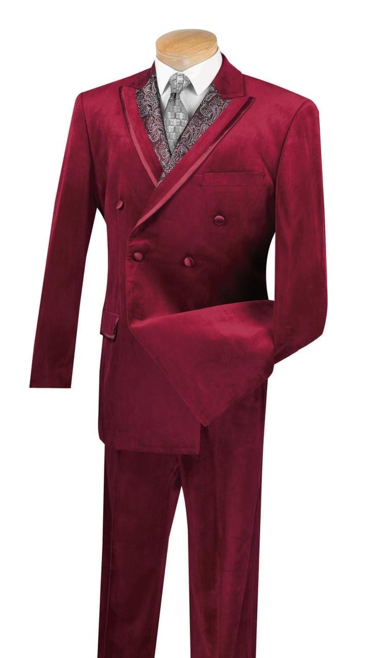 Vinci Men/'s Blue Velvet Double Breasted Classic Fit Suit w// Paisley Trim NEW