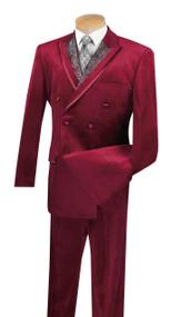 Vinci Burgundy Velvet Fancy Paisley Double-breasted Suit - Single Pleat Slacks