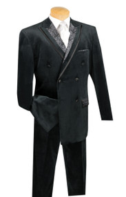 Vinci Black Velvet Fancy Paisley Double-breasted Suit - Single Pleat Slacks