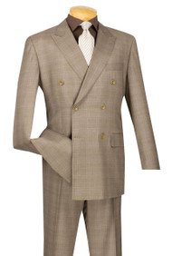 Vinci Tan Glenplaid Double-Breasted Suit with Pleated Slacks