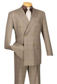 Vinci Tan Glenplaid Double-Breasted Suit with Pleated Slacks