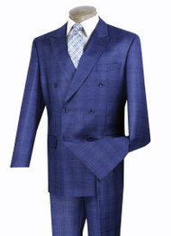 Vinci Blue Glenplaid Double-Breasted Suit with Pleated Slacks
