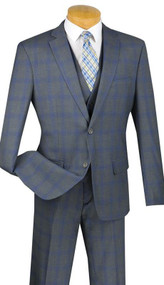 Vinci 2-Button Grey Glenplaid Suit with Vest - Slim Fit