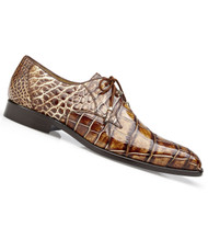 Belvedere Genuine Alligator Hand Stained Tie Dress Shoe - Caramel