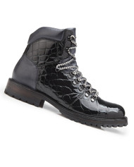 Belvedere Genuine Alligator Lace Up Boots - Black