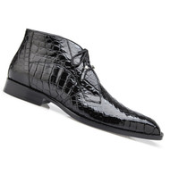 Belvedere Genuine Alligator Lace Half Boots - Black