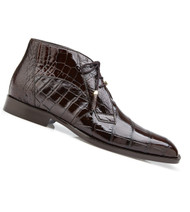 Belvedere Genuine Alligator Lace Half Boots - Chocolate