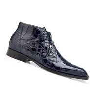Belvedere Genuine Alligator Lace Half Boots - Navy