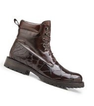 Belvedere Genuine Alligator and Calf Leather Lace Up Boots - Chocolate