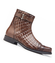 Belvedere Quilted Calf Leather  with Genuine Alligator Men's Boots - Antique Maple