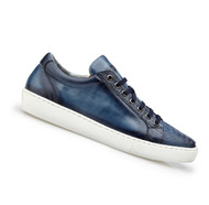 Belvedere Genuine Ostrich & Calf Low Profile Sneaker - Blue