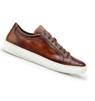 Belvedere Genuine Ostrich & Calf Low Profile Sneaker - Almond