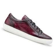 Belvedere Genuine Ostrich & Calf Low Profile Sneaker - Wine