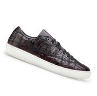 Belvedere Genuine Patch Design Crocodile Sneaker - Black Cherry