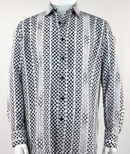 Bassiri Black  & White Tribal Design Long Sleeve Camp Shirt