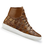 Belvedere Genuine Patch Design Crocodile High Top Sneaker - Honey
