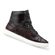 Belvedere Genuine Patch Design Crocodile High Top Sneaker - Black Cherry